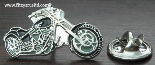 Motorbike Black & Silver Chopper Biker Lapel Hat Cap Tie Pin Badge Brooch - New